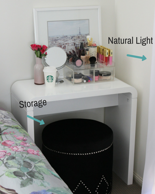 Makeup vanity for small spaces the makeup box shop for Small makeup table