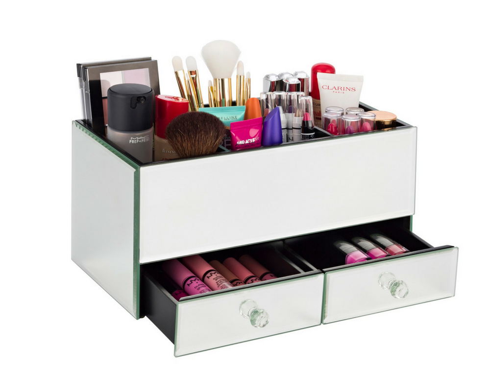 Mirrored Makeup Storage Drawers Makeup Tips And Review